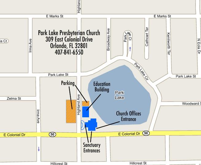 Contact Us Directions Park Lake Presbyterian Church Orlando - Presbyterians us map