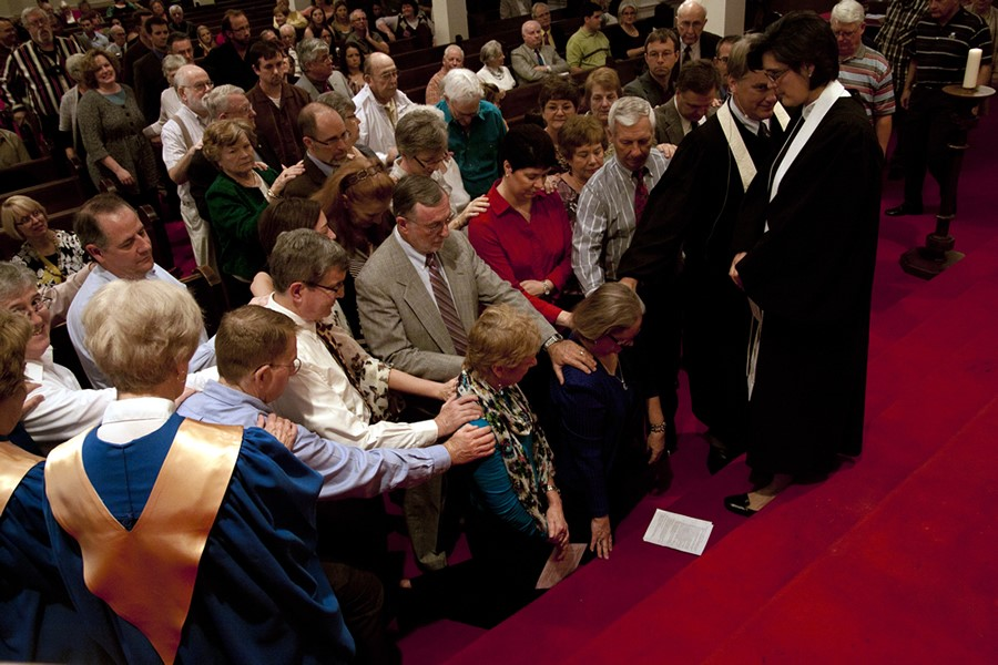 Laying on of hands during Elder ordination