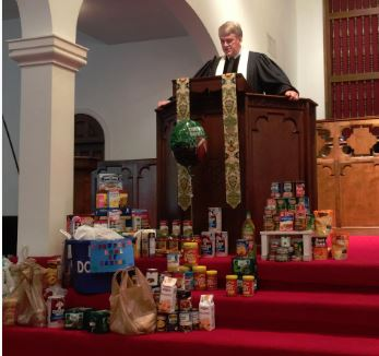 Canned goods on chancel steps